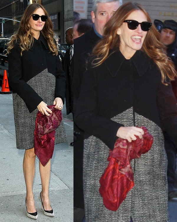 Julia Roberts arrived in a Stella McCartney tweed coat with a red scarf to add a pop of color to her rather neutral number