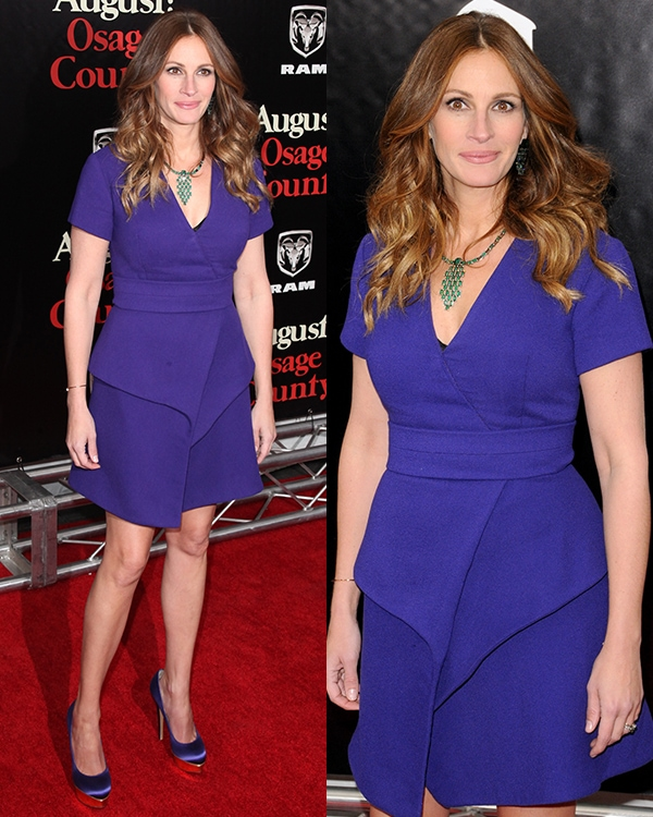 Julia Roberts strutted her stuff in a purple Proenza Schouler dress with V-neck and a wrap-effect asymmetrical layered skirt