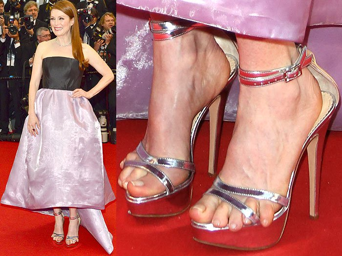 Julianne Moore's pinky toes slipping out of her strappy silver sandals