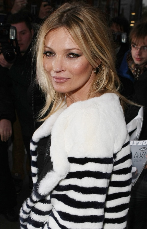Christian Louboutin's English style icon, Kate Moss, arriving at Marc Jacobs in London on December 2, 2013