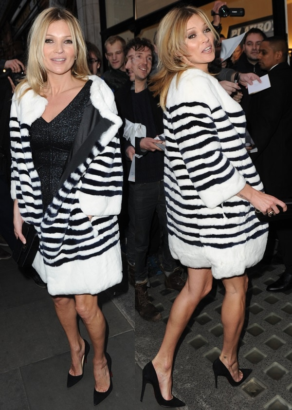"""Kate Moss completed the outfit with Christian Louboutin """"So Kate"""" pumps"""