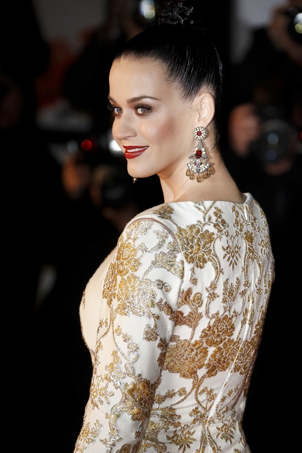 Katy Perry's white-and-gold brocade-print mullet dress