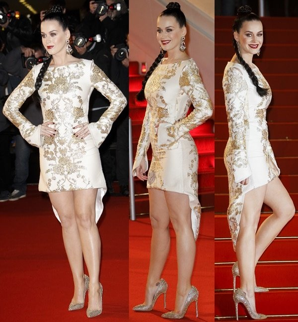 Katy Perry paraded her sexy legs in an Osman dress