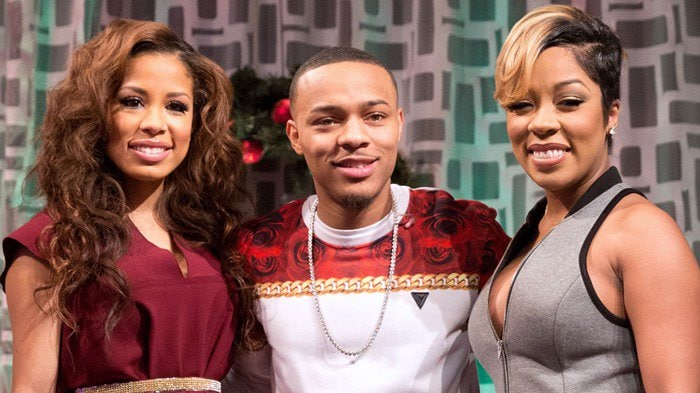 """K. Michelle (R) visits BET's """"106 & Park"""" with hosts Keshia Chante (L) and Bow Wow (c) at BET Studios on December 19, 2013, in New York City"""