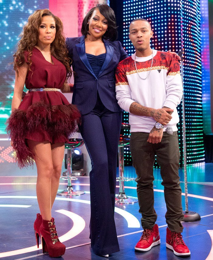"""Monica (C) visits BET's """"106 & Park"""" with hosts Keshia Chante (L) and Bow Wow (R)"""