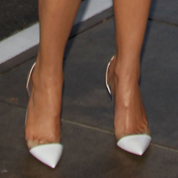 Khloe Kardashian's shoes featurestructured paneling contrast