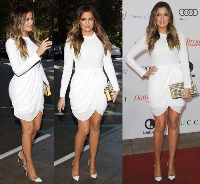 Khloe Kardashian flaunts her legs ina white Tolan dress by A.L.C. andManolo Blahnik Pacha pumps