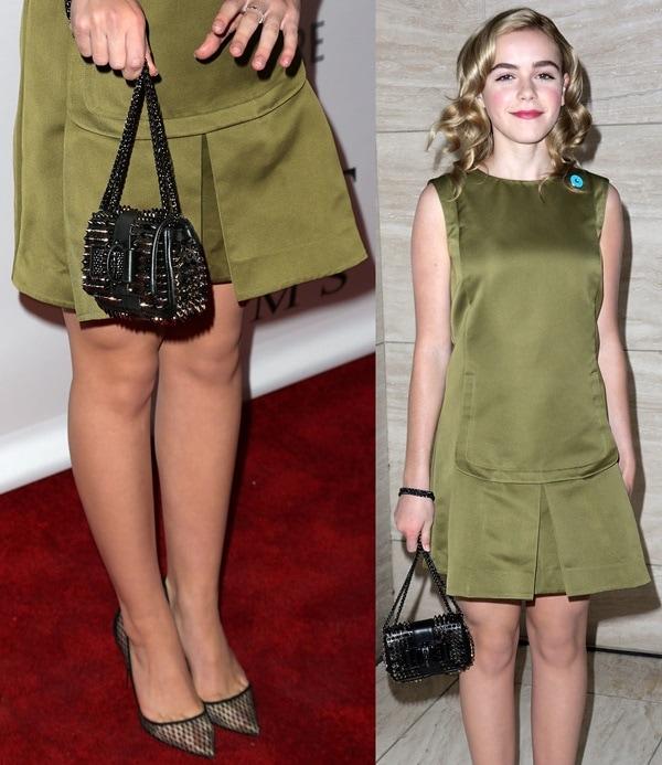 Kiernan Shipka ina green sleeveless shift dress by Marni