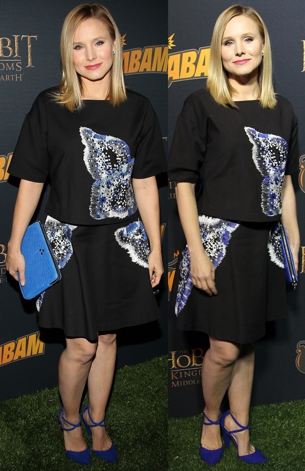 Kristen Bell in a short-sleeved top and an A-line skirt by Sachin + Babi