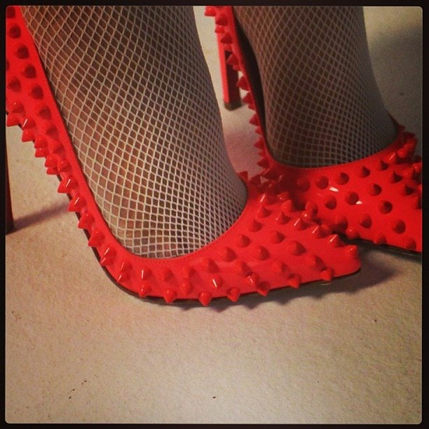 Kylie Minogue's red studded heels