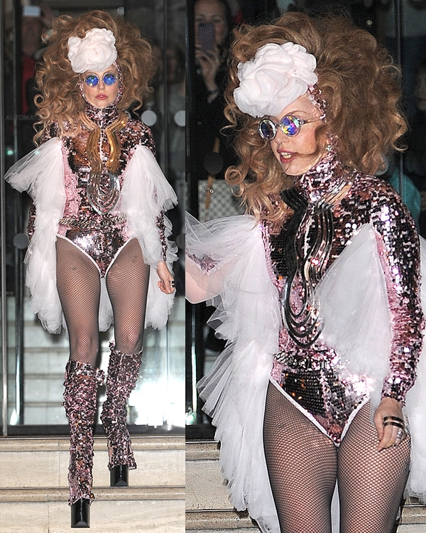 Lady Gaga wears a sparkling sequined leotard anda huge curled wig in chestnut