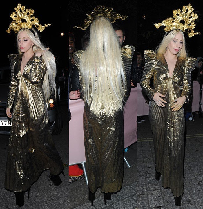 Lady Gaga donned a unique gold dress styled with a golden headpiece