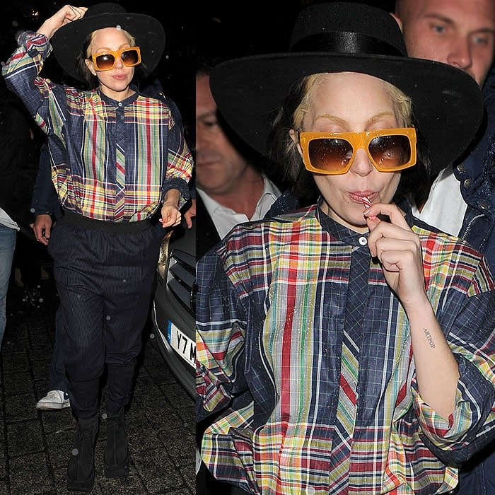 Lady Gaga took off the chain jacket later in the evening, which made her getup look like some sort of odd Amish attire