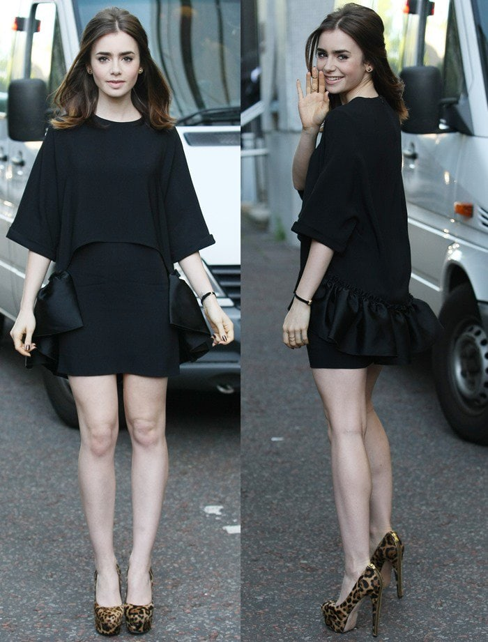 Lily Collins shows how to wear a black dress with embellished leopard-print heels