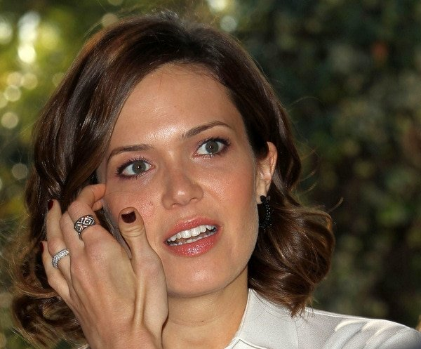 Mandy Moore accessorized with rings from Le Vian and earrings from Pluma