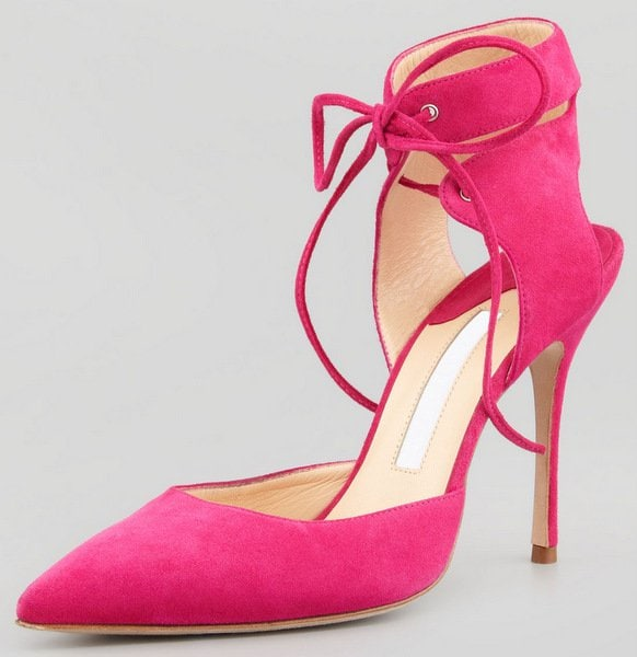 Manolo Blahnik Lara Ankle-Wrap Pointy Suede d'Orsay
