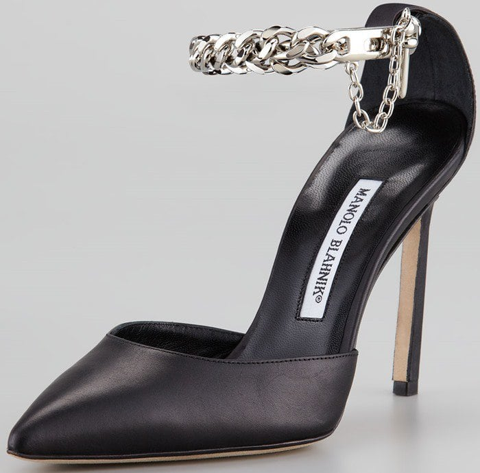Manolo Blahnik Taislao Ankle Chain Leather Pointed Pump