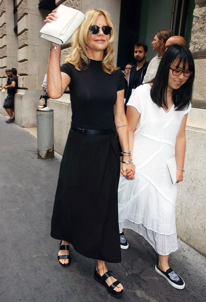 Meg Ryan and her adopted daughter Daisy True attend the Schiaparelli Haute Couture Fall/Winter 2019 2020 show