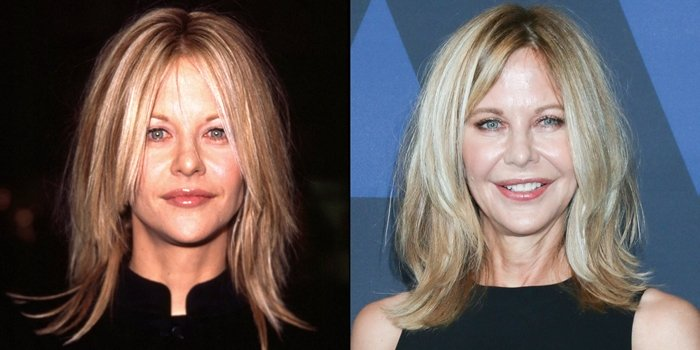 Meg Ryan at the premiere of Kate & Leopold in 2011 and at the 11th Annual Governors Awards in 2019