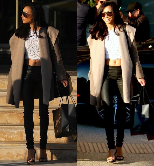 Naya Rivera bares her toned midriff in a cropped top
