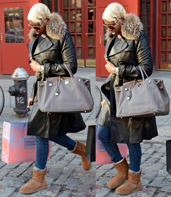 NeNe Leakes shopping in uggs and jeans in SoHo, New York City