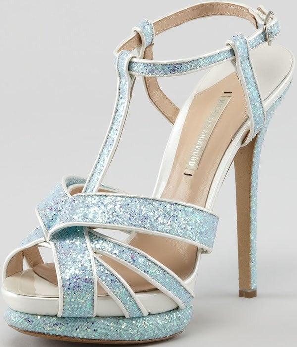 T-Strap Platform Sandals in Ice Blue Glitter