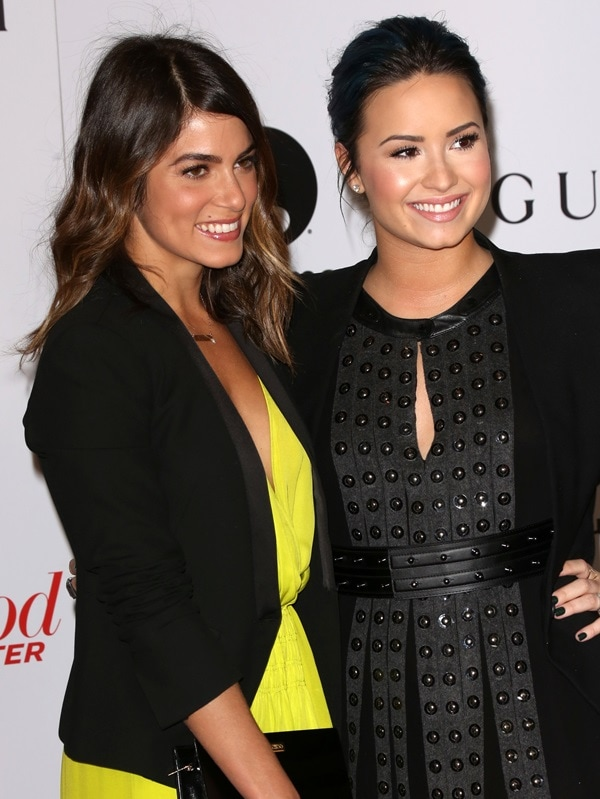 Demi sported a Helmut Lang jacket paired with a Belstaff dress