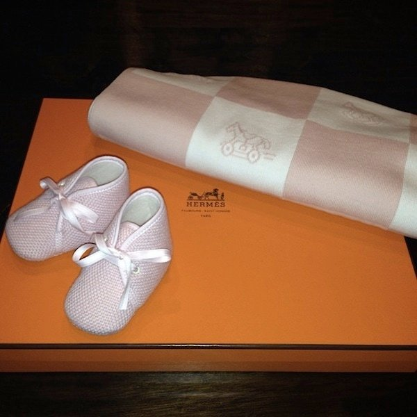 Nori's new Hermes booties and blanket