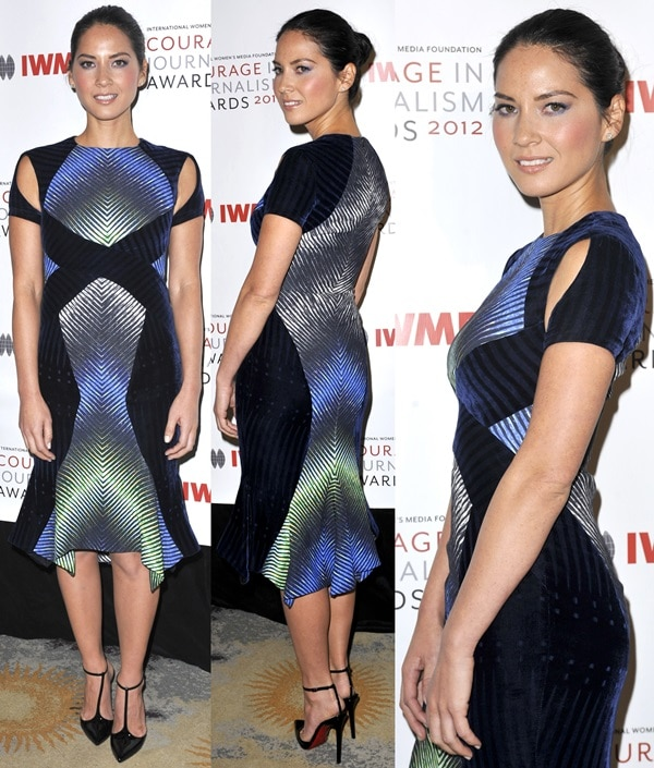 Olivia Munn styled the pumps with a velvet cutout dress by Peter Pilotto featuring a mesmerizing digital print