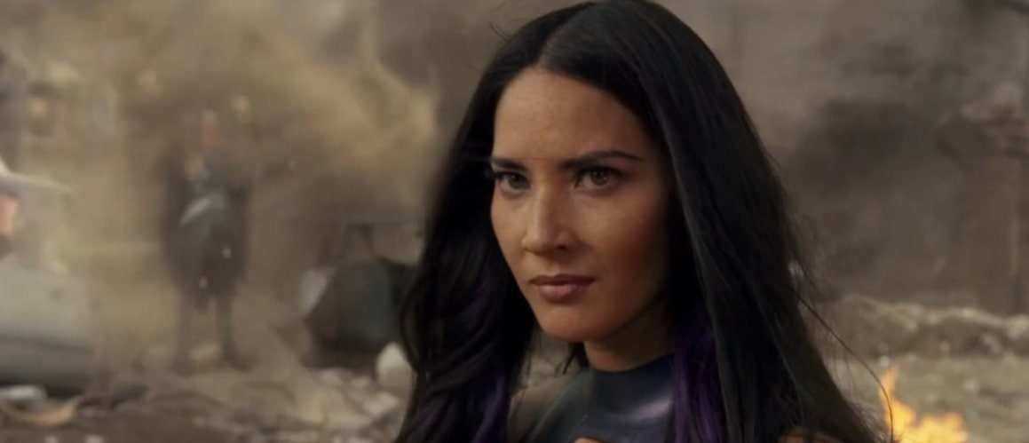 Olivia Munn as Psylocke in the 2016 American superhero film X-Men: Apocalypse