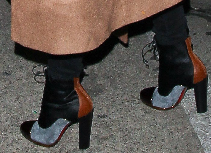 Olivia Munn wears a new pair of mixed-texture Christian Louboutin boots