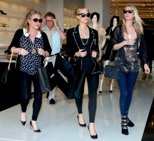 Paris and Nicky Hilton with Mom Kathy Hilton at a Chanel store in Robertson Boulevard in Los Angeles, California, on December 24, 2013