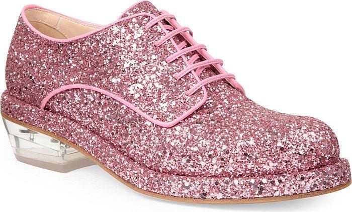 Pink Glitter Simone Rocha Platform Loafers