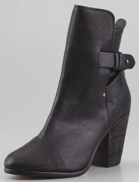 """Rag & Bone """"Kinsey"""" Leather Ankle Booties in Black"""