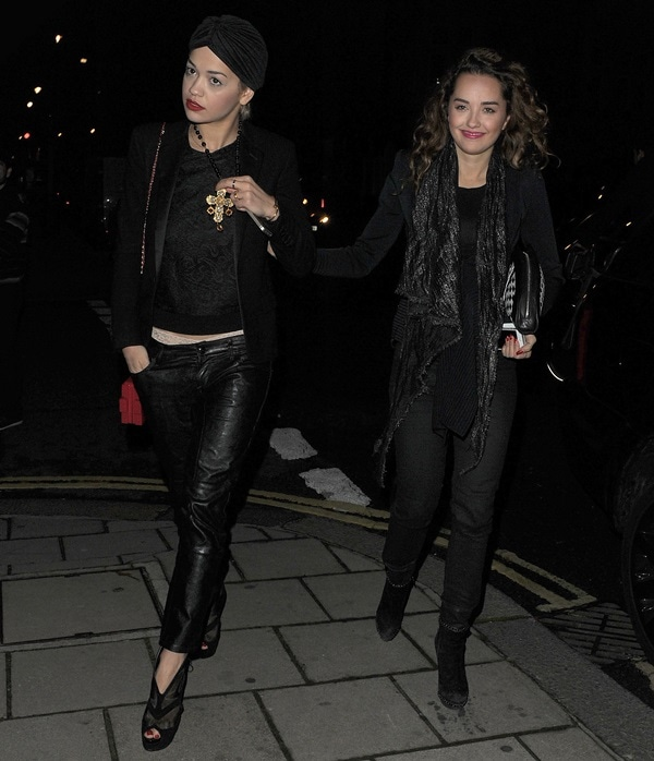 Rita Ora steps out with sister Elena in Mayfair