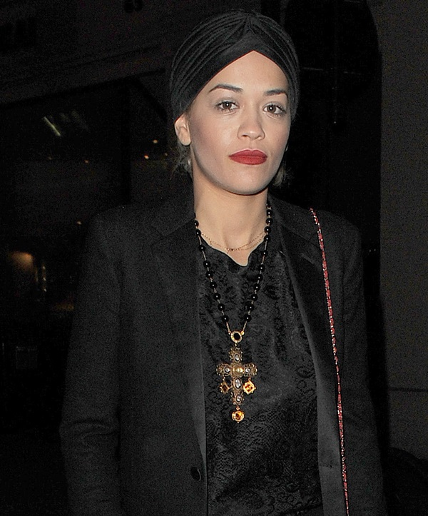 Rita Ora rocking a black turban