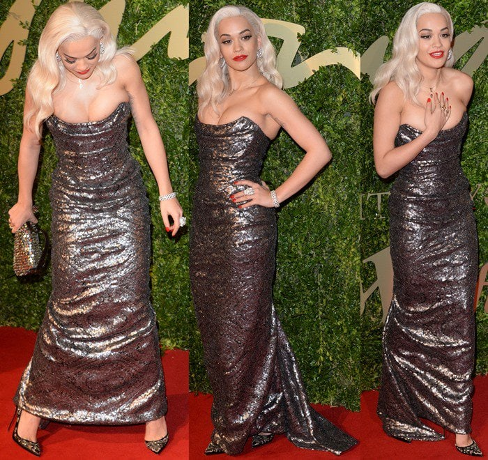 Rita Ora stuns in a sequined gown from Vivienne Westwood