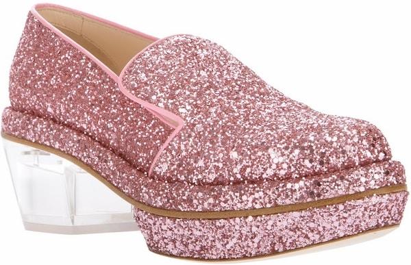 Simone Rocha Pink Glitter Loafers