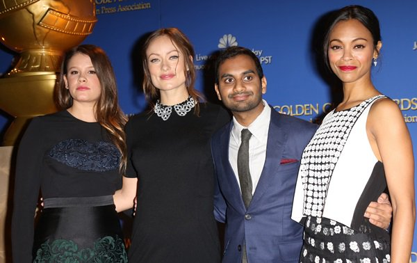 Sosie Bacon, Olivia Wilde, Aziz Ansari, and Zoe Saldana at the 71st Annual Golden Globe Awards Nominations Announcement at The Beverly Hilton Hotel in Beverly Hills on December 12, 2013