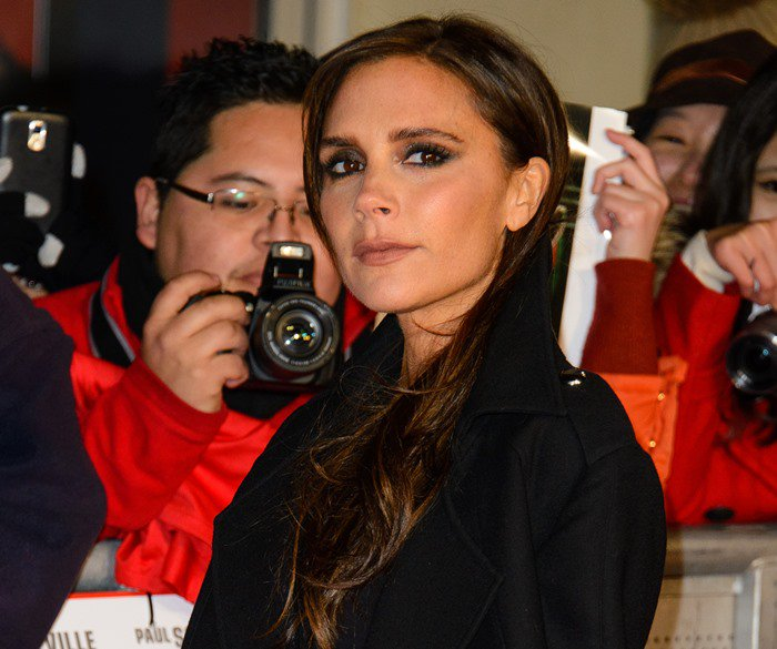 "Victoria Beckham wears her dark hair down at the world premiere of ""The Class of '92"""