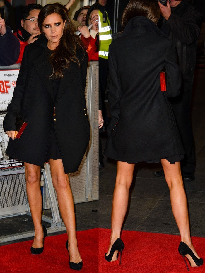 Victoria Beckham flaunts her legs in an ensemble from her own collection