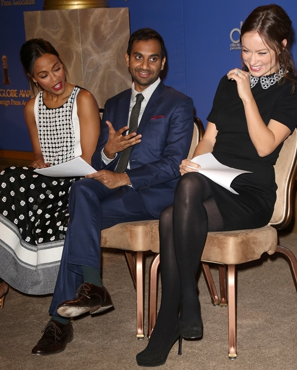 Joined by Olivia Wilde and Aziz Ansari for the much-anticipated event, Zoe Saldana wore a Sachin + Babi top and skirt, Red C jewelry, and Bruno Magli ankle-strap sandals