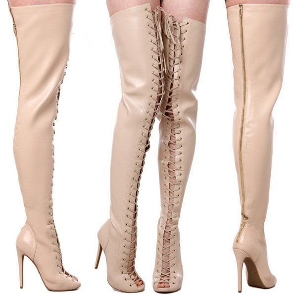 Zigi Piarry Thigh High Boot in Nude Stretch