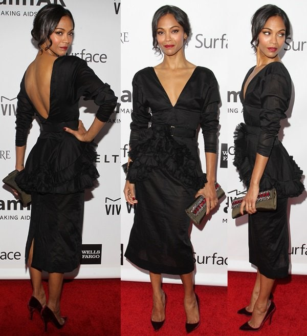 "Zoe Saldana styled the Spring 2014 dress with David Yurman jewelry and Christian Louboutin ""Pigalle"" pumps"