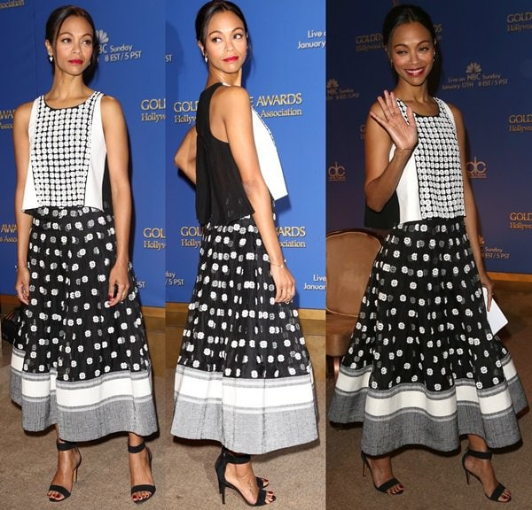 Zoe Saldana wearing a Sachin + Babi top and skirt, Red C jewelry, and Bruno Magli ankle-strap sandals