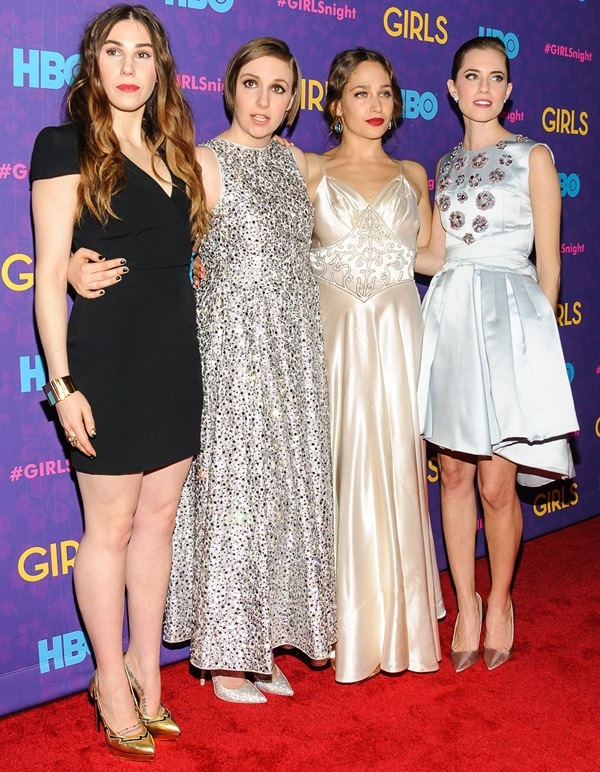 Actresses Zosia Mamet, Lena Dunham, Jemima Kirke, and Allison Williams at the 'Girls' Season 3 premiere at Jazz at Lincoln Center in New York City on January 6, 2014