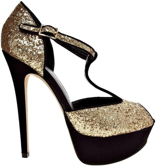 "Aldo ""Loveless"" Glitter T-Bar Platform Sandals"