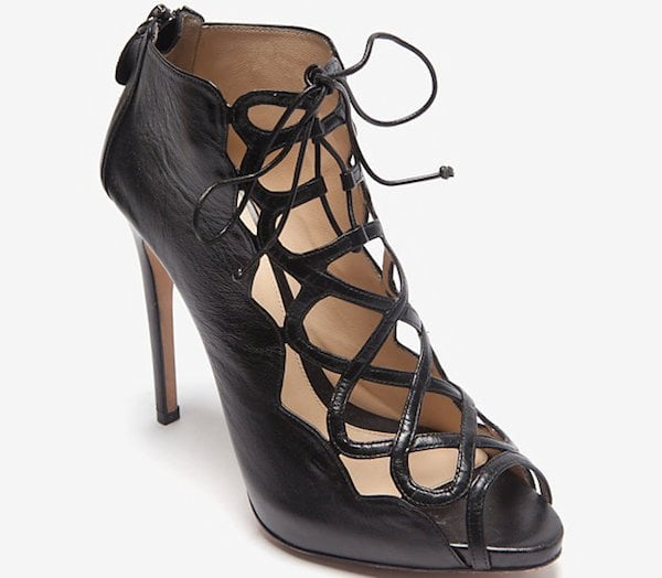 Alexandre Birman Leather Cage Lace-Up Sandals