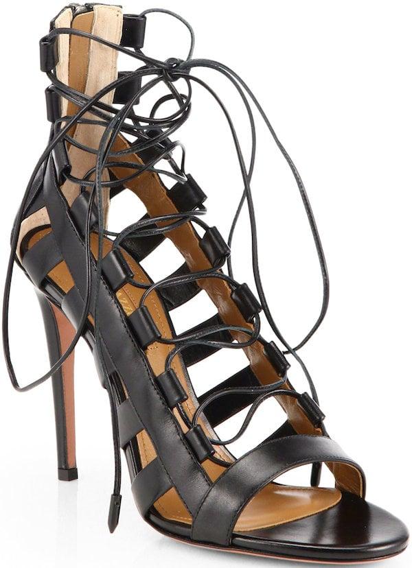 "Aquazzura ""Amazon"" Leather Lace-Up Sandals"