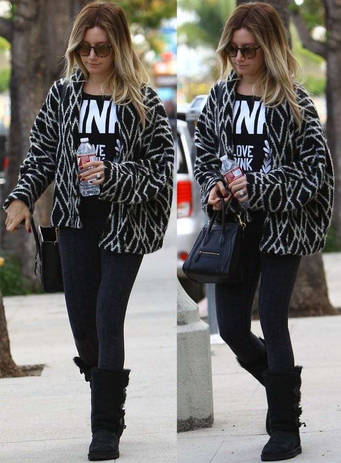 Ashley Tisdale wearing Ugg boots with jeans
